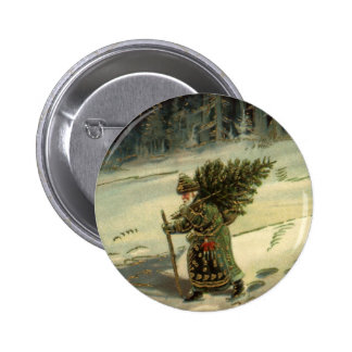 Vintage Christmas, Santa Claus Carrying a Tree Button