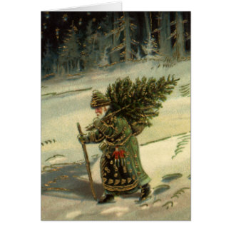 Vintage Christmas, Santa Claus Carrying a Tree Card