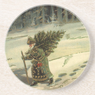 Vintage Christmas, Santa Claus Carrying a Tree Drink Coaster