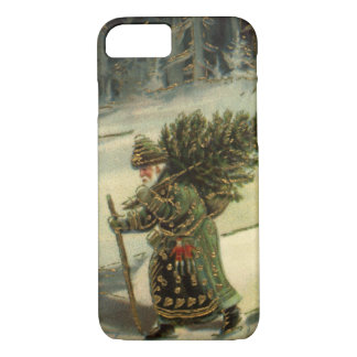 Vintage Christmas, Santa Claus Carrying a Tree iPhone 7 Case