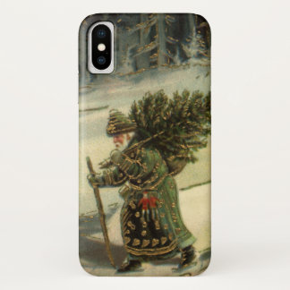 Vintage Christmas, Santa Claus Carrying a Tree iPhone X Case