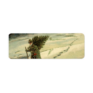Vintage Christmas, Santa Claus Carrying a Tree Label