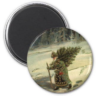 Vintage Christmas, Santa Claus Carrying a Tree Magnet