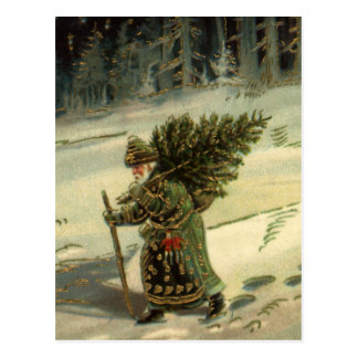 Vintage Christmas, Santa Claus Carrying a Tree Postcard