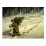 Vintage Christmas, Santa Claus Carrying a Tree Post Card