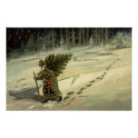 Vintage Christmas, Santa Claus Carrying a Tree Posters