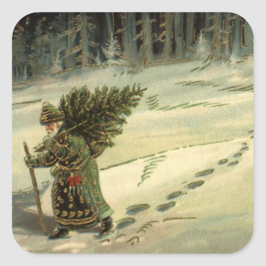 Vintage Christmas, Santa Claus Carrying a Tree Square Sticker