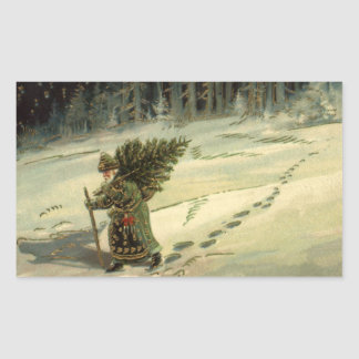 Vintage Christmas, Santa Claus Carrying a Tree Stickers