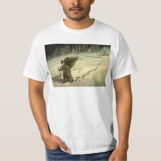 Vintage Christmas, Santa Claus Carrying a Tree T-Shirt