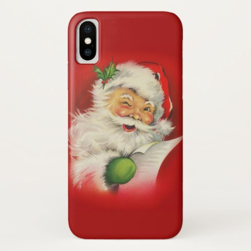 Vintage Christmas Santa Claus iPhone XS Case