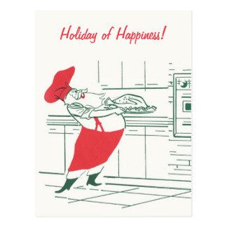 Vintage Christmas, Santa Claus Chef and Turkey Postcard