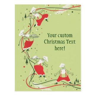 Vintage Christmas, Santa Claus Chef with Dinner Postcard