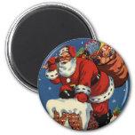 Vintage Christmas, Santa Claus Chimney Toys Fridge Magnets