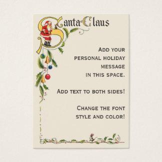 Vintage Christmas, Santa Claus Decorative Border Business Card