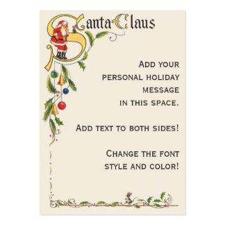 Vintage Christmas, Santa Claus Decorative Border Large Business Cards (Pack Of 100)