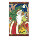 Vintage Christmas, Santa Claus Deer in Forest Business Card Templates