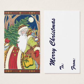 Vintage Christmas, Santa Claus Deer in Forest Business Card