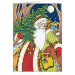 Vintage Christmas, Santa Claus Deer in Forest Greeting Cards
