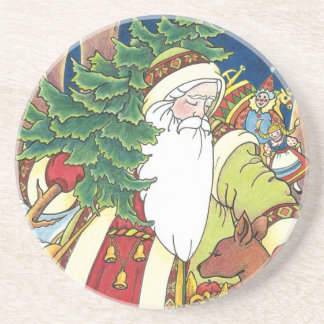Vintage Christmas, Santa Claus Deer in Forest Coaster