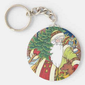 Vintage Christmas Santa Claus Deer in Forest Key Chain