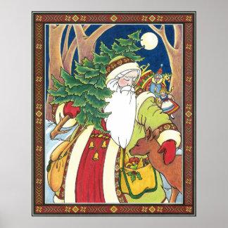 Vintage Christmas, Santa Claus Deer in Forest Poster