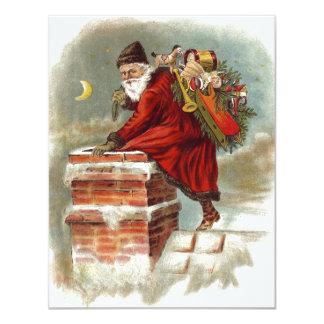 Vintage Christmas Santa Claus Down Chimney Card