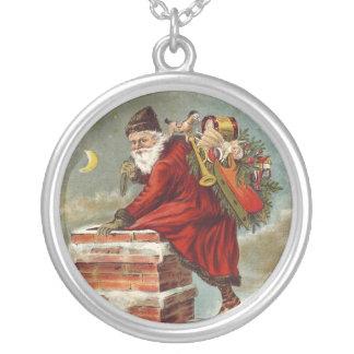 Vintage Christmas Santa Claus Down Chimney Round Pendant Necklace