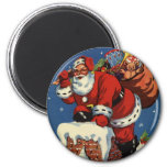 Vintage Christmas, Santa Claus Down Chimney w Toys 2 Inch Round Magnet
