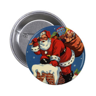 Vintage Christmas, Santa Claus Down Chimney w Toys 2 Inch Round Button