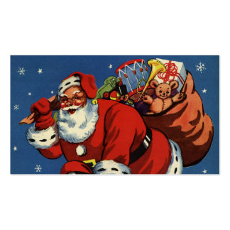 Vintage Christmas, Santa Claus Down Chimney w Toys Double-Sided Standard Business Cards (Pack Of 100)