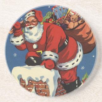 Vintage Christmas, Santa Claus Down Chimney w Toys Drink Coaster