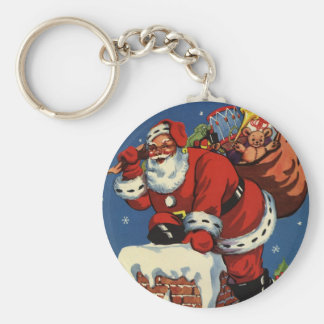 Vintage Christmas, Santa Claus Down Chimney w Toys Basic Round Button Keychain
