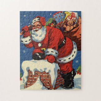 Vintage Christmas, Santa Claus Down Chimney w Toys Puzzle