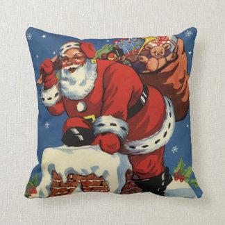 Vintage Christmas, Santa Claus Down Chimney w Toys Throw Pillow
