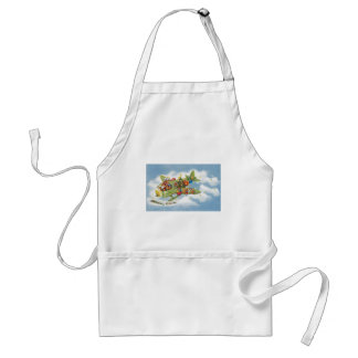 Vintage Christmas, Santa Claus Flying an Airplane Adult Apron