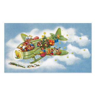 Vintage Christmas, Santa Claus Flying an Airplane Double-Sided Standard Business Cards (Pack Of 100)
