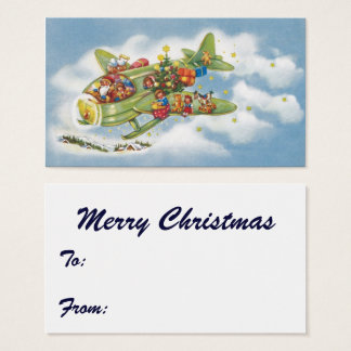 Vintage Christmas, Santa Claus Flying an Airplane Business Card