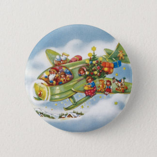Vintage Christmas, Santa Claus Flying an Airplane Button