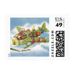 Vintage Christmas, Santa Claus Flying an Airplane Stamp