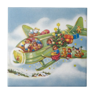 Vintage Christmas, Santa Claus Flying an Airplane Tile