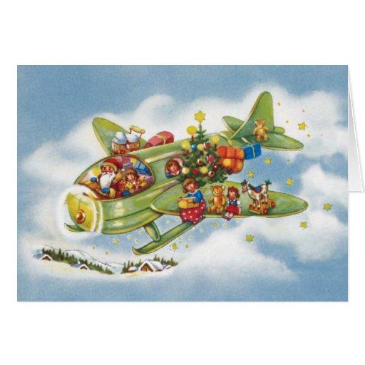 Vintage Christmas, Santa Claus Flying His Airplane Card