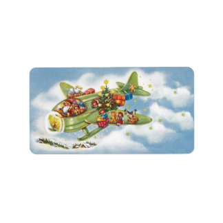 Vintage Christmas, Santa Claus Flying His Airplane Custom Address Labels