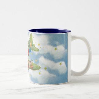 Vintage Christmas, Santa Claus Flying His Airplane Coffee Mug