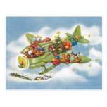 Vintage Christmas, Santa Claus Flying His Airplane Post Cards