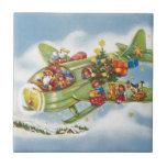 Vintage Christmas, Santa Claus Flying His Airplane Ceramic Tiles