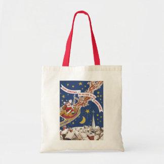 Vintage Christmas, Santa Claus Flying His Sleigh Tote Bags