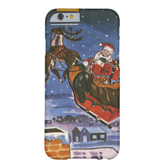Vintage Christmas Santa Claus Flying His Sleigh Barely There iPhone 6 Case