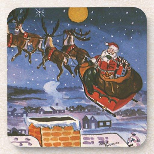 Vintage Christmas Santa Claus Flying His Sleigh Beverage Coaster