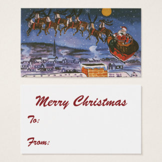 Vintage Christmas Santa Claus Flying His Sleigh Business Card