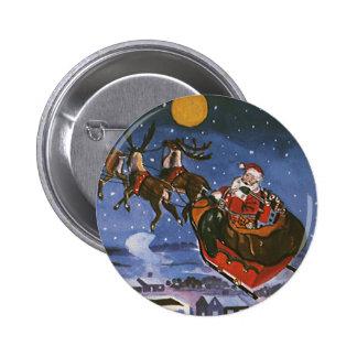 Vintage Christmas Santa Claus Flying His Sleigh Button